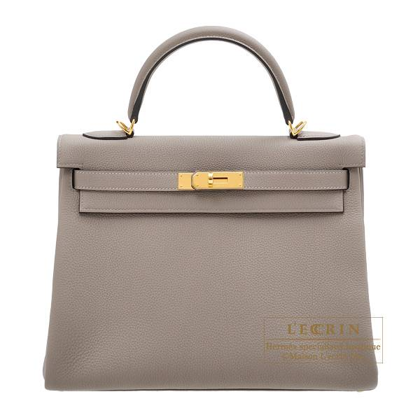 Hermes Kelly bag 32 Retourne Gris asphalt Togo leather Gold hardware