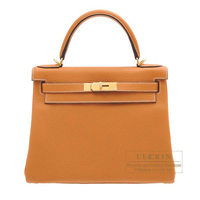Hermes Kelly bag 28 Retourne Toffee Clemence leather Gold hardware