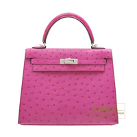 Hermes Kelly bag 25 Sellier Rose purple Ostrich leather Silver hardware