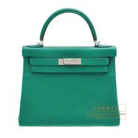 Hermes Kelly bag 28 Retourne Vert vertigo Clemence leather Silver hardware