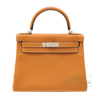 Hermes Kelly bag 28 Retourne Toffee Clemence leather Silver hardware