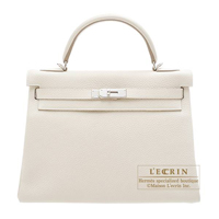 Hermes Kelly bag 32 Retourne Craie Clemence leather Silver hardware