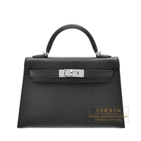 Hermes Kelly bag mini Sellier Black Epsom leather Silver hardware