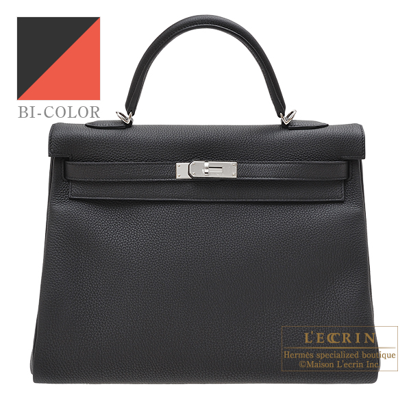 Hermes Personal Kelly bag 35 Retourne Black/Capucine Togo leather Silver hardware