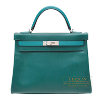 Hermes Personal Kelly bag 32 Retourne Malachite/ Blue paon Epsom leather Matt silver hardware