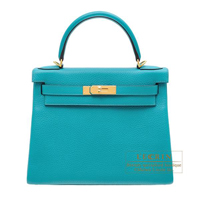 Hermes Kelly bag 28 Retourne Blue paon Clemence leather Gold hardware