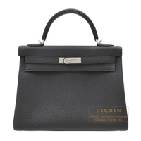 Hermes Personal Kelly bag 32 Retourne Black Togo leather Silver hardware