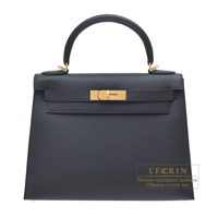 Hermes Kelly bag 28 Sellier Black Sombrero leather Gold hardware
