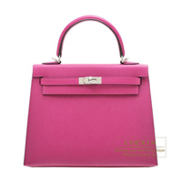 Hermes Kelly bag 25 Sellier Rose purple Epsom leather Silver hardware