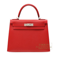 Hermes Kelly bag 28 Sellier Rouge casaque Epsom leather Silver hardware