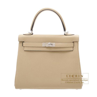 Hermes Kelly bag 25 Retourne Trench Togo leather Silver hardware