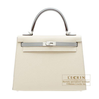 Hermes Personal Kelly bag 25 Sellier Craie/Gris mouette Epsom leather Matt silver hardware