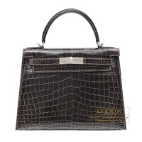 Hermes Kelly bag 28 Sellier Graphite Niloticus crocodile skin Silver hardware