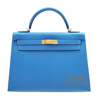 Hermes Kelly bag 32 Sellier Blue zanzibar Epsom leather Gold hardware