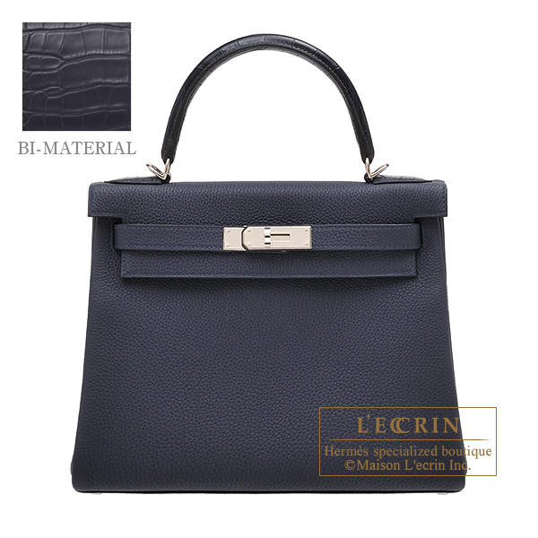 Hermes Kelly Touch bag 28 Retourne Blue nuit/ Blue de malte Togo leather/ Matt alligator crocodile skin Silver hardware