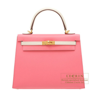 Hermes Personal Kelly bag 25 Sellier Rose azalee/Craie Epsom leather Gold hardware