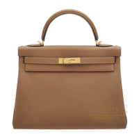 Hermes Kelly bag 32 Retourne Alezan Togo leather Gold hardware