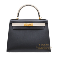 Hermes Personal Kelly bag 28 Sellier Black/Craie Togo leather Gold hardware