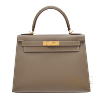 Hermes Kelly bag 28 Sellier Etoupe grey Epsom leather Gold hardware