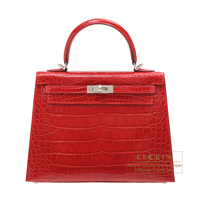 Hermes Kelly bag 25 Sellier Braise Alligator crocodile skin Silver hardware