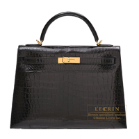 Hermes Kelly bag 32 Sellier Black Porosus crocodile skin Gold hardware