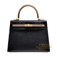 Hermes Personal Kelly bag 25 Sellier Black/Etoupe grey Epsom leather Gold hardware