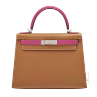 Hermes Personal Kelly bag 28 Sellier Gold/ Rose purple Epsom leather Silver hardware