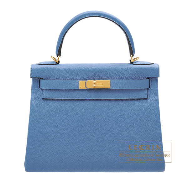 Hermes Kelly bag 28 Retourne Azur Togo leather Gold hardware