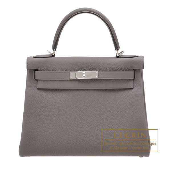 Hermes Kelly bag 28 Retourne Etain Togo leather Silver hardware