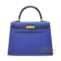 Hermes Personal Kelly bag 25 Sellier Blue electric/ Blue saphir Epsom leather Gold hardware