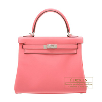 Hermes Kelly bag 25 Retourne Rose azalee Swift leather Silver hardware