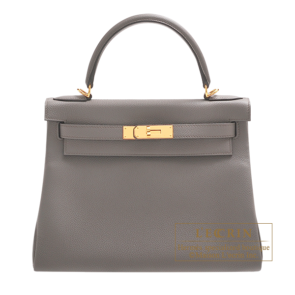 Hermes Kelly bag 28 Retourne Etain Togo leather Gold hardware