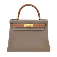 Hermes Personal Kelly bag 28 Retourne Etoupe grey/ Gold Togo leather Matt gold hardware