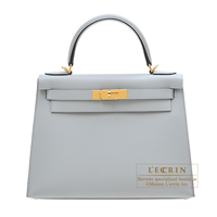 Hermes Kelly bag 28 Sellier Blue glacier Epsom leather Gold hardware