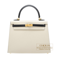 Hermes Personal Kelly bag 25 Sellier Craie/Black Epsom leather Gold hardware