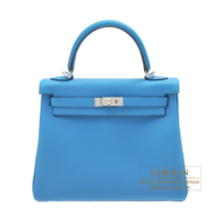 Hermes Kelly bag 25 Retourne Blue zanzibar Togo leather Silver hardware