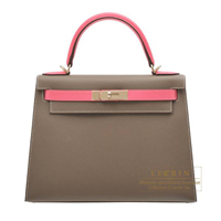 Hermes Personal Kelly bag 28 Sellier Etoupe grey/Rose azalee Epsom leather Champagne gold hardware