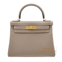 Hermes Kelly bag 28 Retourne Gris asphalt Evercolor leather Gold hardware