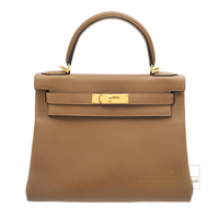 Hermes Kelly bag 28 Retourne Alezan Togo leather Gold hardware