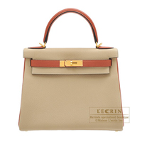 Hermes Personal Kelly bag 28 Retourne Trench/ Cuivre Togo leather Matt gold hardware