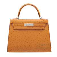Hermes Kelly bag 28 Sellier Gold Ostrich leather Silver hardware