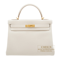 Hermes Kelly bag 32 Retourne Craie Togo leather Gold hardware