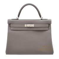 Hermes Kelly bag 32 Retourne Etain Togo leather Silver hardware