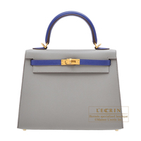 Hermes Personal Kelly bag 25 Sellier Gris mouette/ Blue electric Epsom leather Matt gold hardware