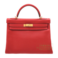 Hermes Kelly bag 32 Retourne Rouge casaque Clemence leather Gold hardware