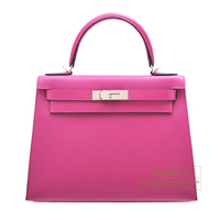Hermes Kelly bag 28 Sellier Rose purple Epsom leather Silver hardware