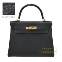 Hermes Kelly Touch bag 28 Retourne Black Togo leather/ Matt alligator crocodile skin Gold hardware