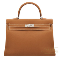 Hermes Kelly bag 35 Retourne Gold Togo leather Silver hardware