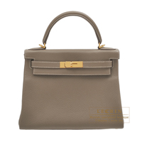 Hermes Kelly bag 28 Retourne Etoupe grey Clemence leather Gold hardware