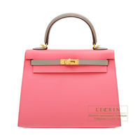 Hermes Personal Kelly bag 25 Sellier Rose azalee/Gris asphalt Epsom leather Matt gold hardware